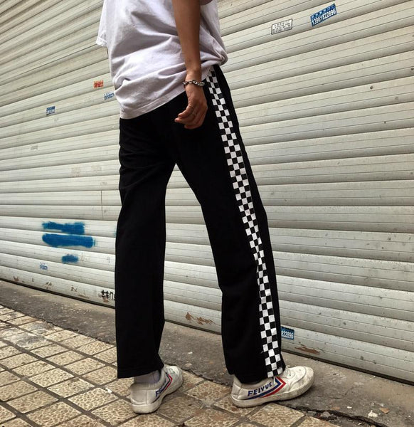 CHECKERED SIDE LINES BLACK COMFY LOOSE SWEATPANTS