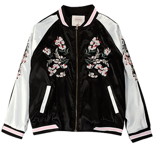 CHINA FLORAL EMBROIDERY SILK BOMBER JACKET