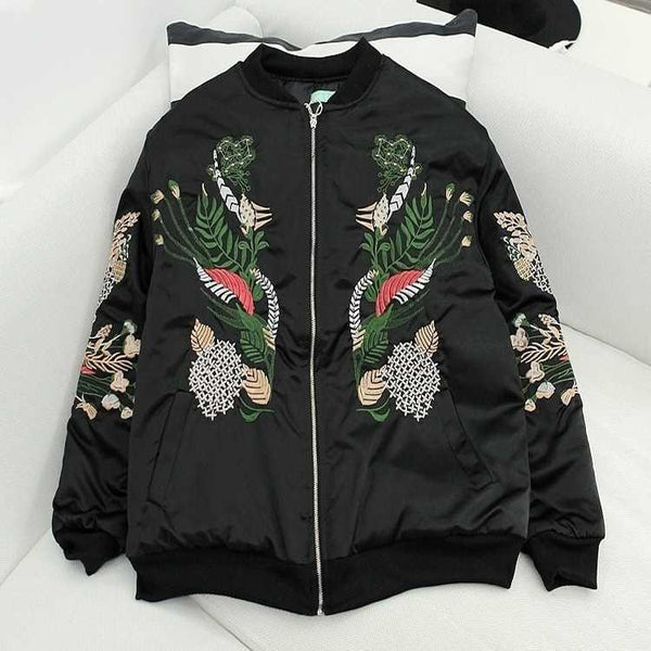 CHINESE PLANTS EMBROIDERY BLACK SILK OUTWEAR JACKET