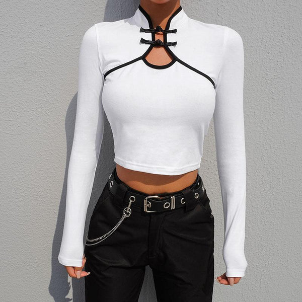 CHINESE STYLE ELEMENTS LONG SLEEVE SLIM CROP TOP