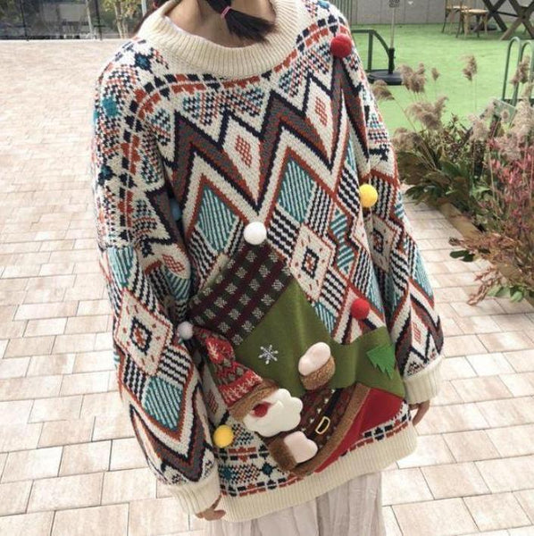 CHRISTMAS SNOWMAN PRINT OVERSIZED KNITTED SWEATER