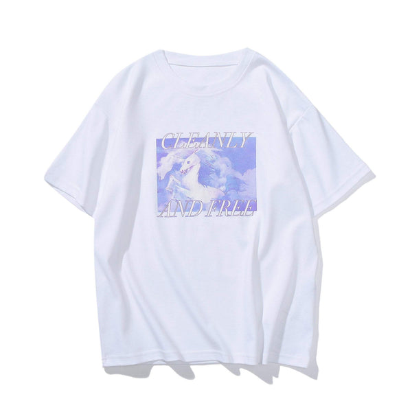 CLEANY AND FREE UNICORN PRINTED WHITE T-SHIRT