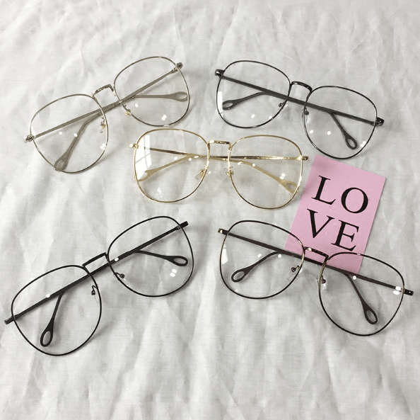 CLEAR ROUND SQUARE METALLIC FRAME KOREAN GLASSES