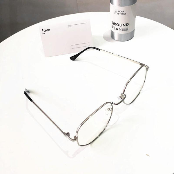 CLEAR TRANSPARENT METALLIC FRAME SQUARE GEOMETRIC GLASSES