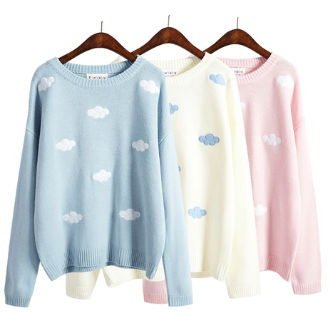 CLOUDS EMBROIDERY LONGSLEEVE LOOSE SWEATER
