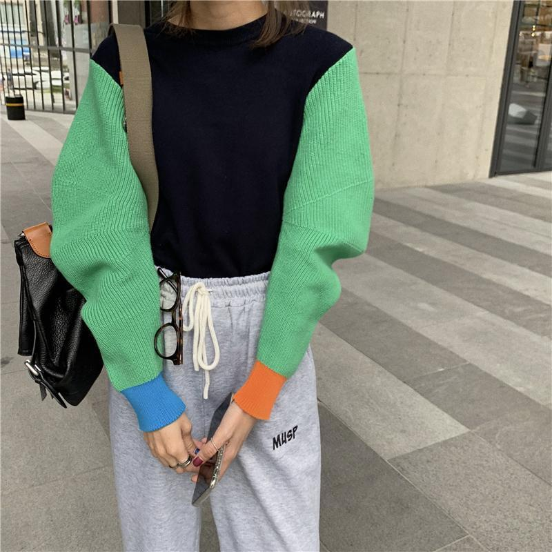 COLOR BLOCK INTERNET GIRL KNITTED SWEATER
