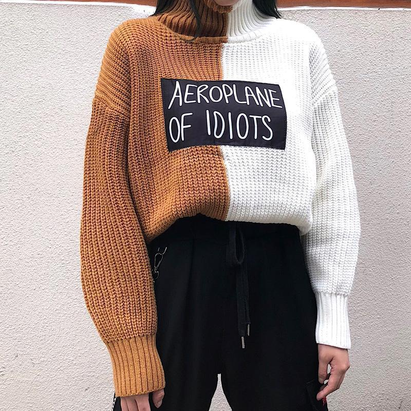 COLOR BLOCK INTERNET GIRL LOOSE KNITTED SWEATER