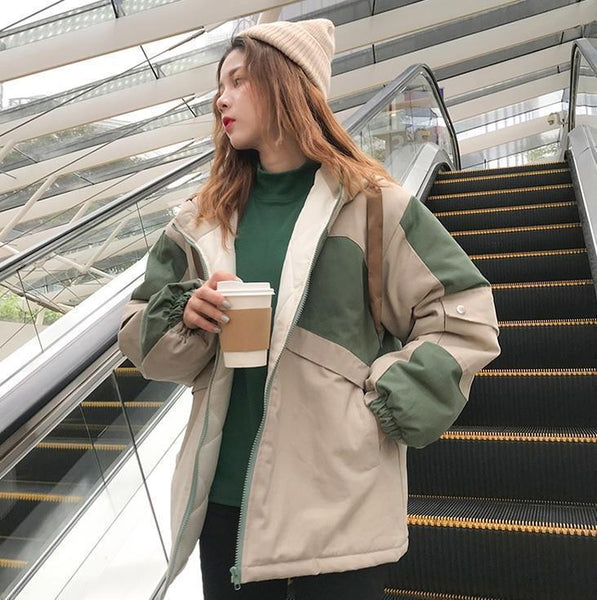 COLOR BLOCK THICK LOOSE HOODED JACKET