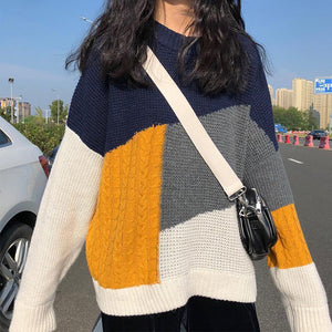COLOR BLOCK VINTAGE OVERSIZED KNITTED PULLOVER