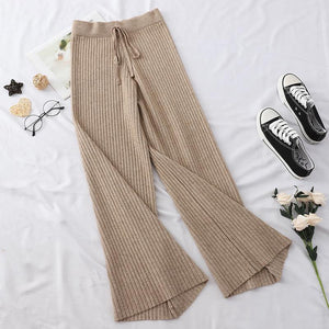 COLORFUL PASTEL AESTHETIC RIBBED KNIT ELASTIC PANTS