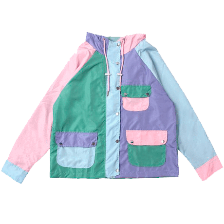 COLORFUL PATCHES RAINY JACKET