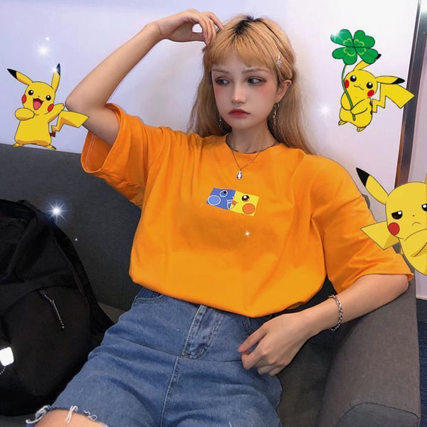 COLORFUL POKEMON PRINT OVERSIZED ORANGE T-SHIRT