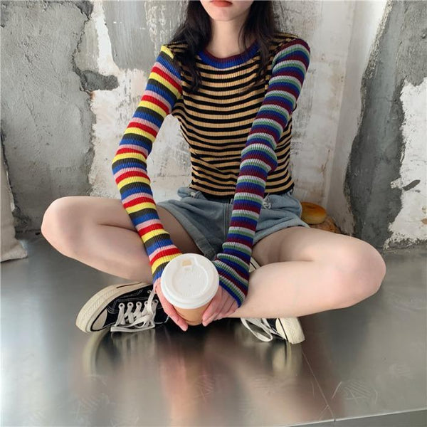 COLORFUL STRIPES 90s RIBBED LONG SLEEVE CROP TOP