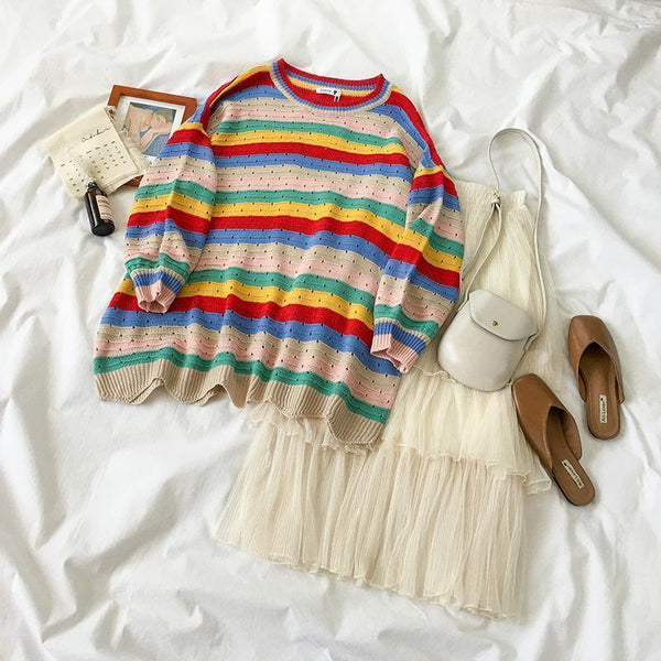 COLORFUL STRIPES LITTLE HOLES O-NECK SWEATER