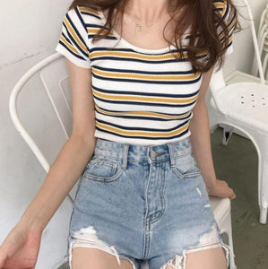 COLORFUL STRIPES ROUND NECK COTTON CROP TOP