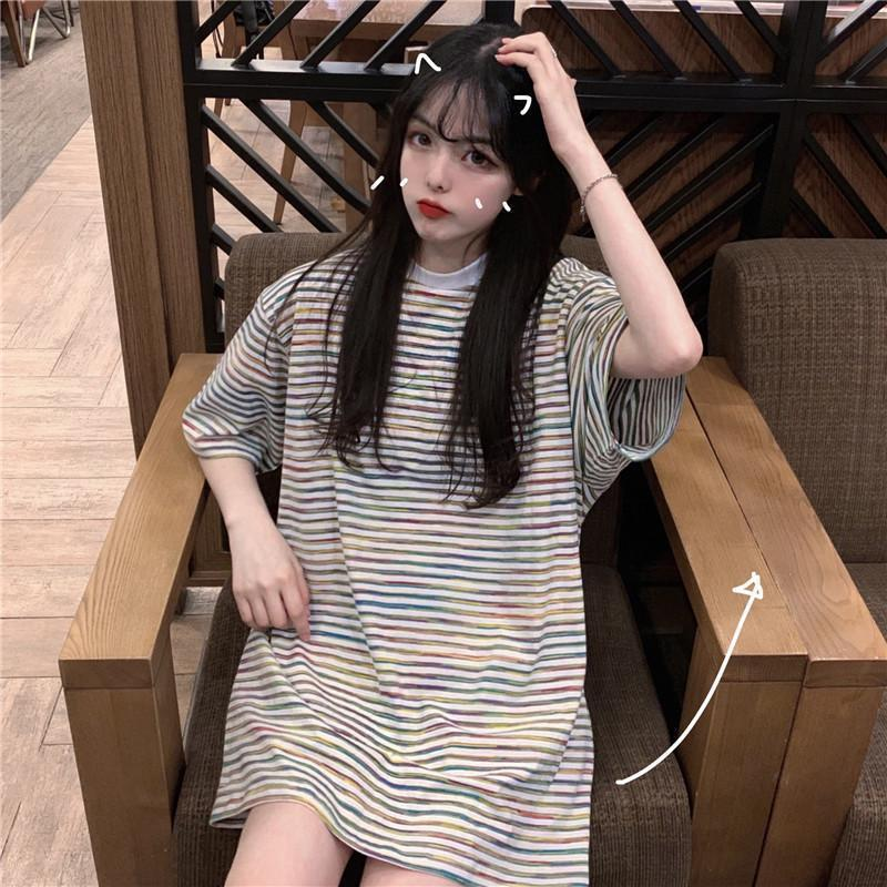 COLORFUL THIN STRIPES LONG OVERSIZED T-SHIRT
