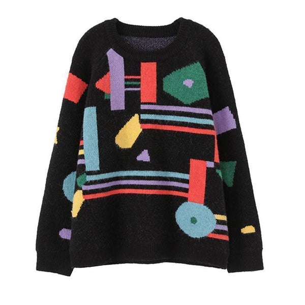 CONTRAST ABSTRACT PRINT OVERSIZED KNIT SWEATER