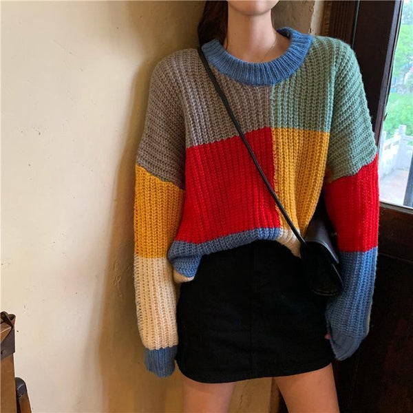 CONTRAST COLOR BLOCK OVERSIZED KNITTED SWEATER