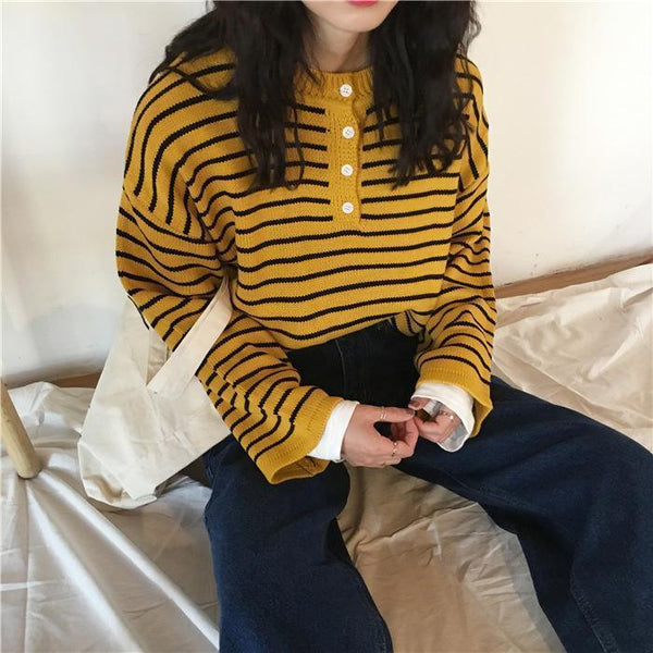 CONTRAST STRIPES KNIT LONG SLEEVE LOOSE SWEATER