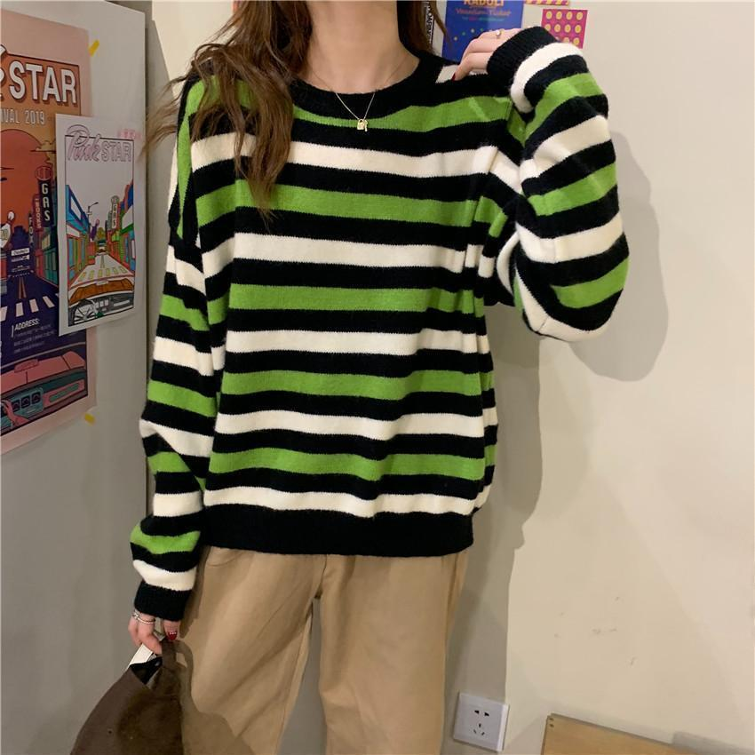 CONTRAST STRIPES KOREAN AESTHETIC KNITTED SWEATER