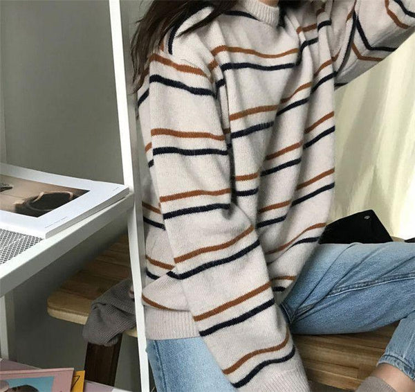 CONTRAST THIN STRIPES TUMBLR AESTHETIC LOOSE SWEATER