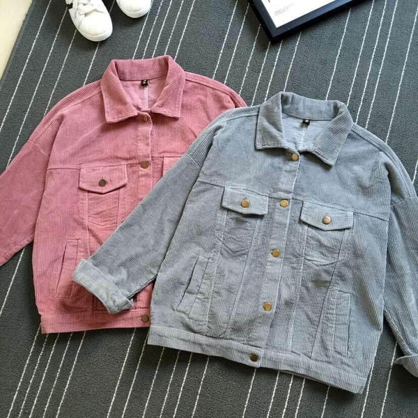 CORDUROY GRAY PINK COLLAR OUTWEAR