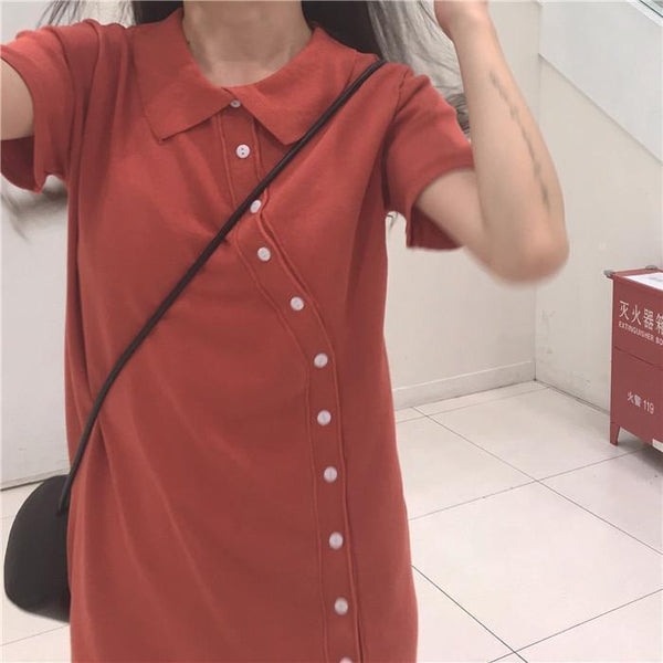 COTTON COLLAR SIDE BUTTONS FRONT LINE DRESS