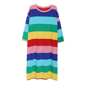 COTTON COLORFUL STRIPES O-NECK LONG SLEEVE OVERSIZED LONG DRESS