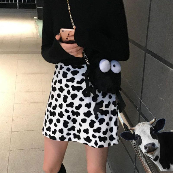 COW PRINT SOFT PLUSH HIGH WAIST MINI SKIRT