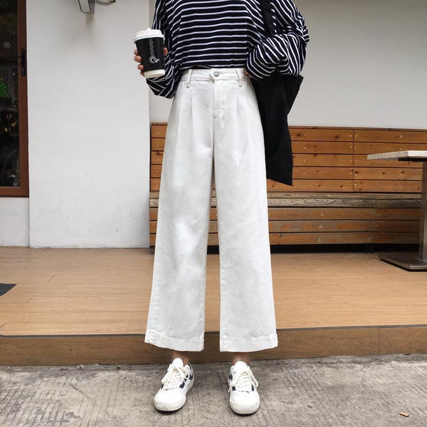 CREAMY WHITE HIGH WAIST STRAIGHT CASUAL LOOSE PANTS