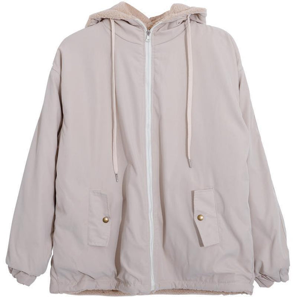 CREAMY WHITE RETRO TWO-SIDED LOOSE HOODED JACKET
