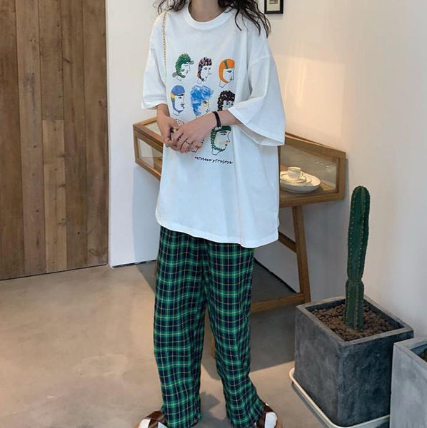CREATIVE CARTOON PRINT T-SHIRT + GREEN PLAID PANTS 2 PIECE SET