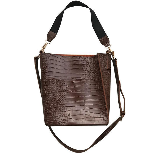 CROCODILE PATTERN THICK STRAP 2IN1 PURSE AND BUCKET BAG
