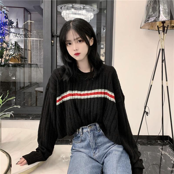 CROPPED O-NECK MIDDLE STRIPED KNITTED SWEATER