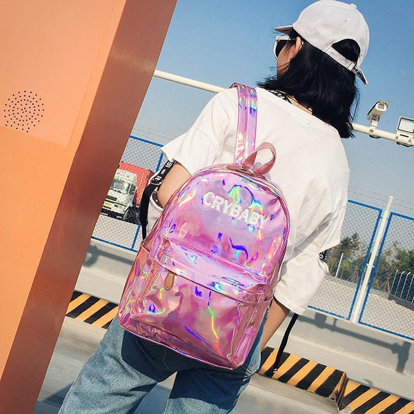CRYBABY HOLOGRAPHIC LASER SCHOOL BACKPACK