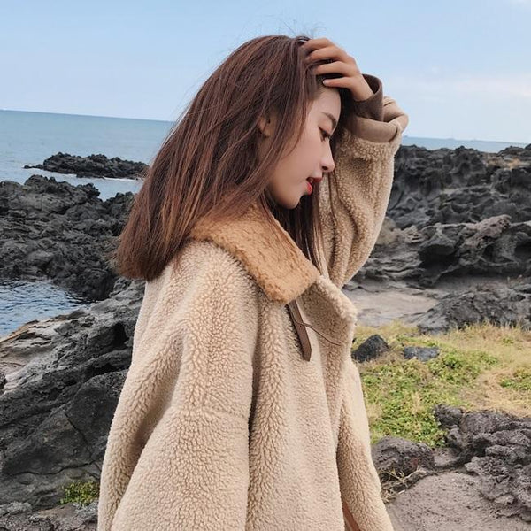 CURLY FAUX FUR WARM LOOSE BEIGE COAT JACKET