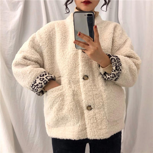 CURLY FAUX FUR WHITE PINK LEOPARD INSIDE JACKET
