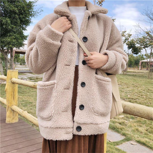 CURLY PLUSH FAUX FUR FRONT BUTTONS COLLAR COAT BEIGE JACKET