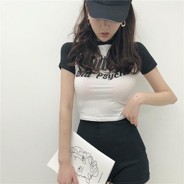 CUTE AND PSYCHO LETTERS PRINT BLACK COLOR EDGE CROP TOP
