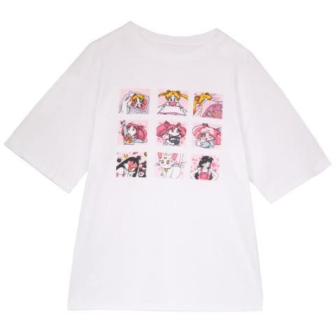 CUTE ANIME CHARACTERS COLLAGE PRINT T-SHIRT