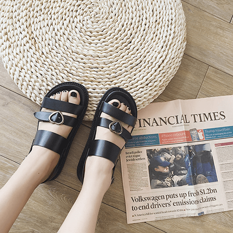 CUTE BLACK PU LEATHER HEART BUCKLE SANDALS