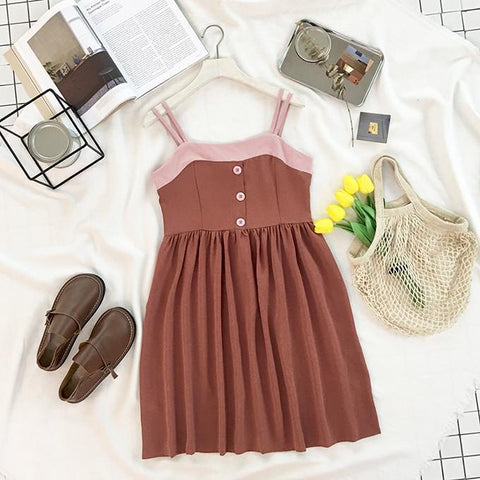 CUTE CARAMEL PINK LINE SUMMER BUTTONS DRESS