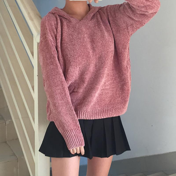 CUTE CHENILLE LONG SLEEVE OVERSIZED HOODED SWEATER