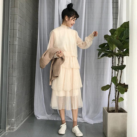 CUTE CREAMY WHITE BEIGE MESH LONG DRESS