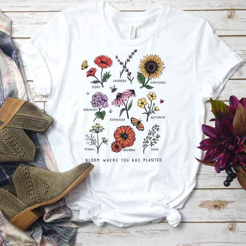 CUTE FLORAL PRINT LOOSE SOFT AESTHETIC WHITE T-SHIRT