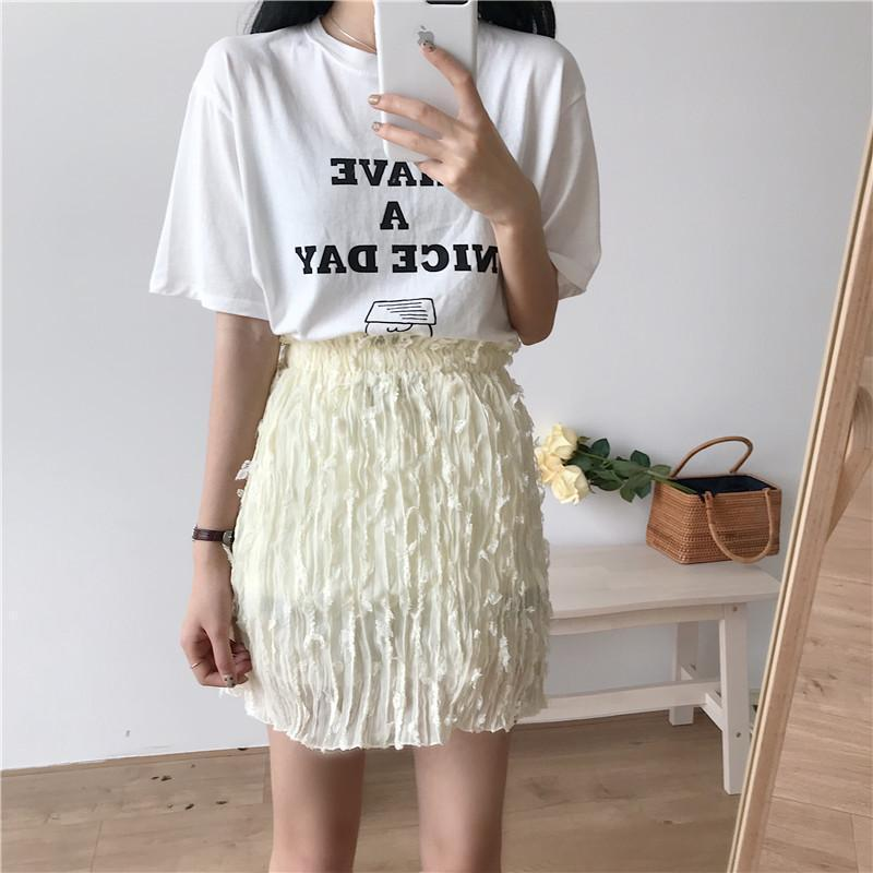 CUTE FLOWERS VINTAGE LIGHT CHIFFON BEIGE PENCIL SUMMER SKIRT