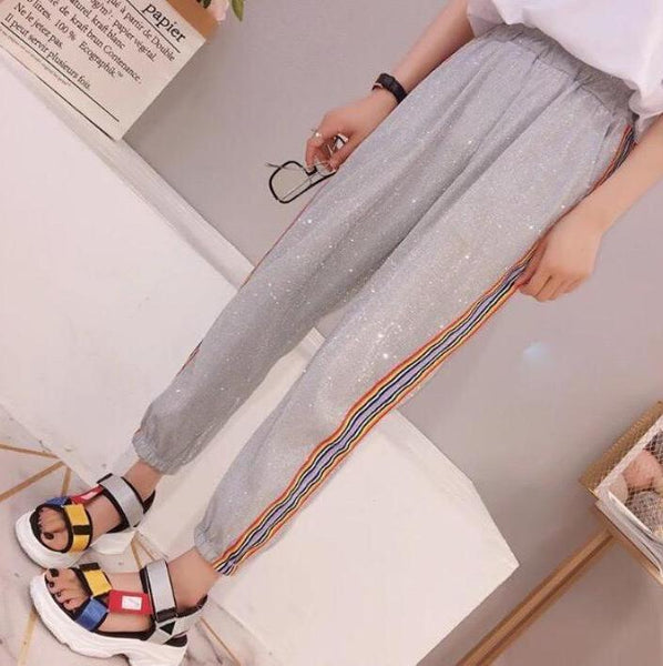 CUTE GLITTER RAINBOW STRIPES ELASTIC WAIST SPORT STYLE PANTS