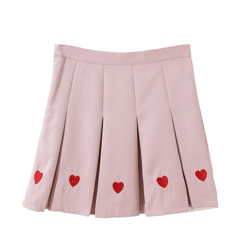 CUTE HEARTS EMBROIDERY PLEATED BLACK PINK AESTHETIC SKIRT