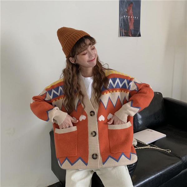 CUTE HEARTS EMBROIDERY V-NECK KNITTED CARDIGAN