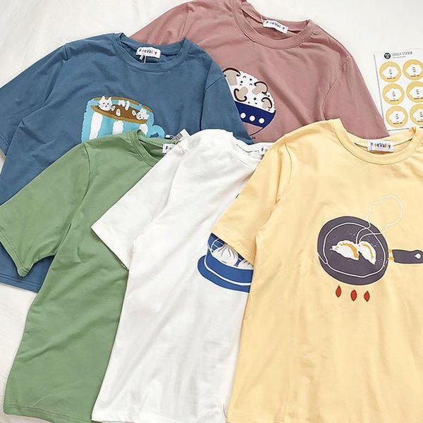 CUTE JAPANESE FOOD PRINTED OVERSIZED T-SHIRT